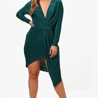 Plus Slinky Long Sleeve Plunge Wrap Dress | Boohoo