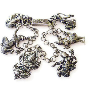 Siam Sterling Charm Bracelet Silver Charms Thai Gods Goddess Dancer Vintage Jewelry