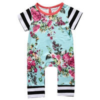 Newborn Baby Girls Boys Clothing Romper Short Sleeve Flower Cute Jumpsuit Kids Baby Girl Clothes Outfit Summer