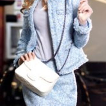 Light Blue Long Sleeves Jacket and Bodyocn Skirt Suit