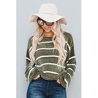 Wrapped In Love Sweater (Olive/White)