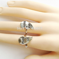 High Quality New Fashion Jewelry PARTNERS IN CRIME Set Letters Silver Finger Ring Best Friend Birthday Gift Free Shipping