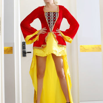 Red and Yellow Bell Sleeve Long Back Dress Queen Costume