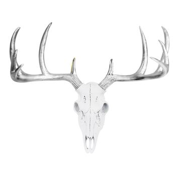 Mini Deer Head Skull | Faux Taxidermy | White + Silver Antlers Resin
