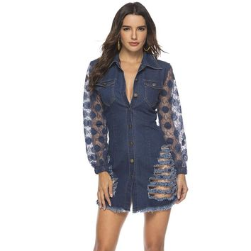 spring Long Sleeves Casual bodycon Dress Women Sexy Lace patchwork ripped Denim Dress Button party Mini Dress elegant Jean Dress