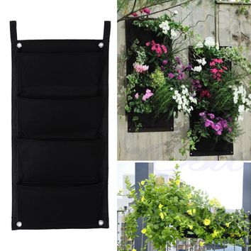 4 Pockets Vertical Garden Planter Indoor Outdoor Wall Balcony Herbs Vertical Garden Hanging Planter Bag