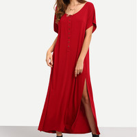Red Loose Half Sleeve Side Split Maxi Dress