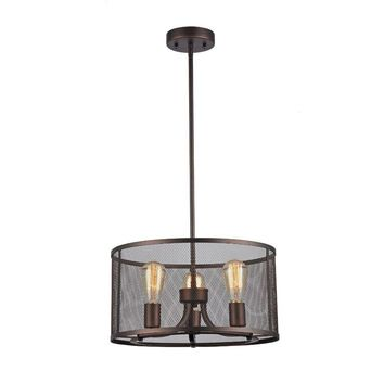 """Ironclad, Industrial-Style 3 Light Rubbed Bronze Ceiling Pendant 16"""" Wide"""