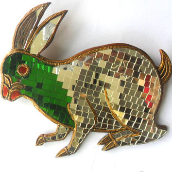 "Mosaic Rabbit Glass Art Multicolor Handmade Mirror Mosaics Art Home Decor Handcrafted Hand Carved Gift 8.5""x8"""