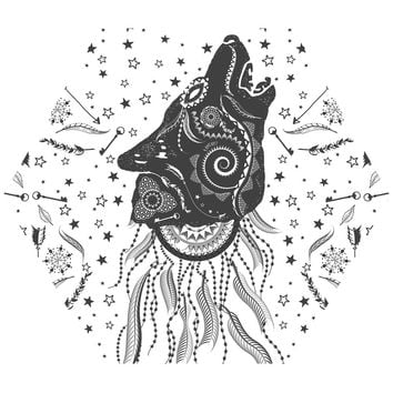 Ornamental Wolf Hex Wall Decal
