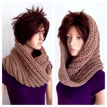 Infinity Cowl/ Unisex Knitted Cowl in Tan