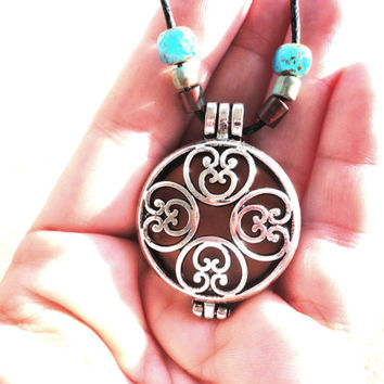 Aromatherapy Necklace, Essential Oil Diffuser Locket, Boho Earthy Jewelry