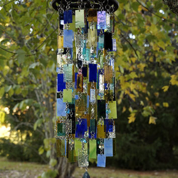 Stained Glass - Colored Glass - Wind Chimes - Sun Catcher - OOAK - The Mighty Peacock