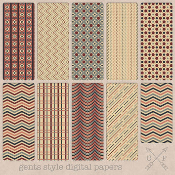 SALE toned down color digital paper pack. Chevron dots and more digital scrapbook papers instant download, great for web design, card making