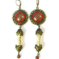 Embellished Brass Filigree Earrings - Ancient Romance Series - Royal Stewart Scottish Tartan Victorian Musical Ephemera Earrings