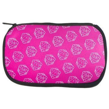 PEAPGQ9 D20 Gamer Critical Hit and Fumble Pink Pattern Dice Game Bag