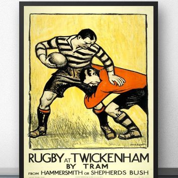 Rugby at Twickenham Vintage Movie Wall Art Paint Wall Decor Canvas Prints Canvas Art Poster Oil Paintings No Frame