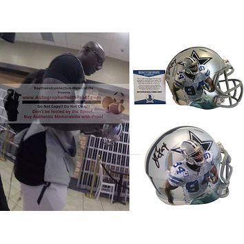 Demarcus Ware Autographed Dallas Cowboys Riddell Mini Speed Style Football Helmet, Proof Photo, Beckett S38127