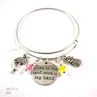 Toes in the Sand Wine in My Hand Bangle Bracelet with Charms and Swarovski Crystals