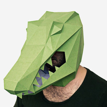 Make your own Alligator Mask, Crocodile Mask, Instant Pdf download, DIY New Year Mask, Polygon Masks, Printable Mask