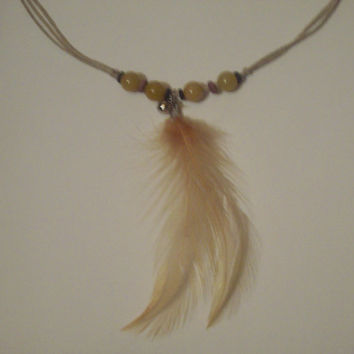 The Forest Girl - Feather and Bell Necklace on Hemp Cord with Sliding Knot Closure
