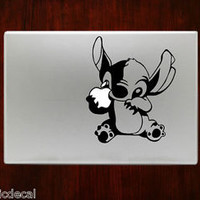 Stitch Holding Apple Disney Cute Decal Sticker For Macbook 13 15 inch Pro Air