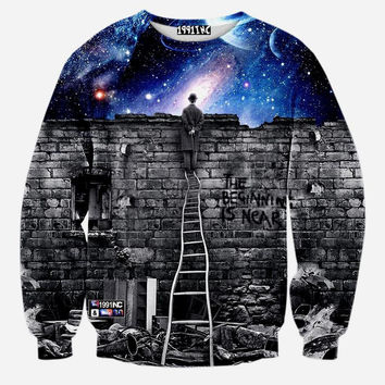 Space Galaxy Crew Neck Sweatshirt Men & Women Harajuku Style All Over Print Sweater