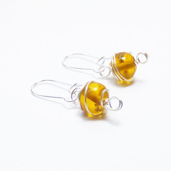 Amber Yellow Round Glass Beads Wrapped in Silver-Plated Wire on Silver-Plated Earwires