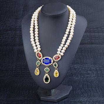 New Arrival Stylish Gift Shiny Jewelry Pearls Glass Crystal Accessory Necklace [4914834692]