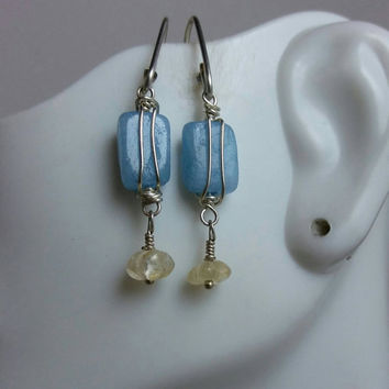 Aquamarine with Citrine Flowers, Sterling Silver Double Wrap,Fiber Inspired Earrings,Artisan Made, Dangle & Drop Earrings, Hip Chick Jewelry