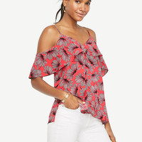 Floral Cold Shoulder Ruffle V-Neck Top | Ann Taylor