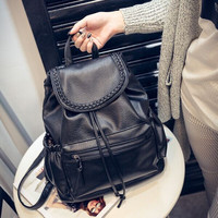 Black Leather Large Backpack