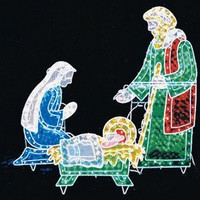 5 Ft. Long Christmas 3pc Lighted Holographic Nativity - Outdoor Lighted Decorations -175 Lights