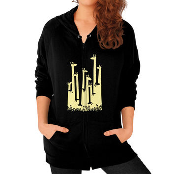 Giraffe Double Vision Zip Hoodie (on woman) Shirt