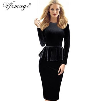 Vfemage Womens Autumn Winter Sexy Elegant Peplum Velvet Tunic Party Mother of Bride Special Occasion Evening Bodycon Dress 4082
