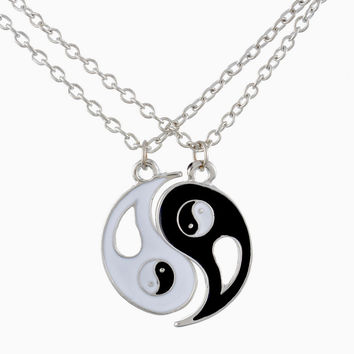 1Set Best Friends Ying Yang Necklaces Two Bagua Charm Pendant Necklaces