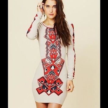 Free People Embroidered Aztec Princess Bodycon Dress
