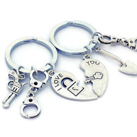I Love You Keychains, Partners in Crime, Silver Half Heart, Weapons Jewelry, Handcuff Keyrings, Boyfriend Gift, Friend Present, His & Hers