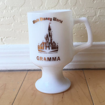 Milk Glass Coffee Cup - Walt Disney World Souvenir - Disney Coffee Mug