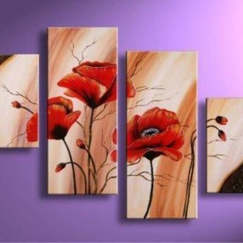 HUGE 4 Panel Wall art red poppy flowers abstract HANDPAINTED oil painting custom size