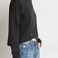 Origami-Hem Heathered Sweater