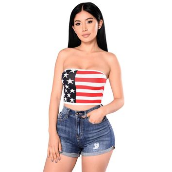 Sexy Women Strapless Bustier Crop Top American Flag Print Bandeau Camisole Tank Tube Top XXL Plus Size US Flag Cropped Feminino