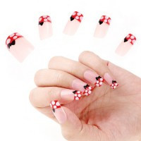 24pcs False French Full Nail Art Tips - Default