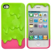 Detachable 3D Melting Ice-cream Hard Protective Back Case Cover Set for iPhone 4 /iPhone 4S