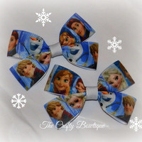 Frozen ~ Clippie Pigtail Hair Bow Set ~ Blue and White ~ Boutique Hair Bows ~ Small Hair Bows ~ Pony Tail Bows ~ Anna, Elsa, Hans, Olaff