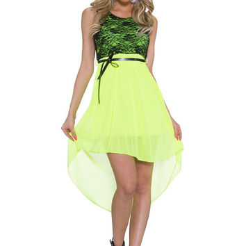 Green Floral Lace Sleeveless A-line Mini Dress