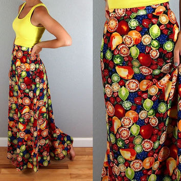 Vintage Fruit Salad Print Bright Summer Maxi Skirt, Size Small/Medium, Perfect for Summer!