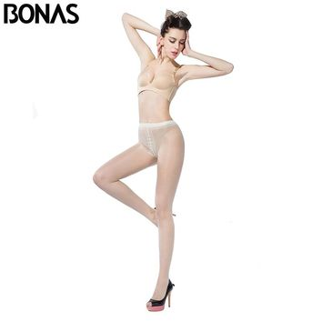 T Crotch Design Cotton For Women Tight Spandex Waist Fashion Transparent Tights Sexy Skin Color Nylon