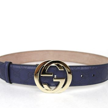 GUCCI Belt w/Interlocking G Buckle Purple