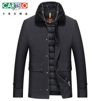 Cartelo/Brand Winter Warm Down Jacket Men Pure Wool Collar Casual Clothing Long Male 90% White Duck Down Coat For Male